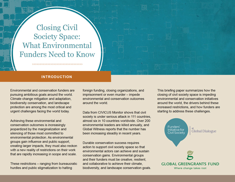 Closing Civil Society Space: What Environmental Funders Need to Know